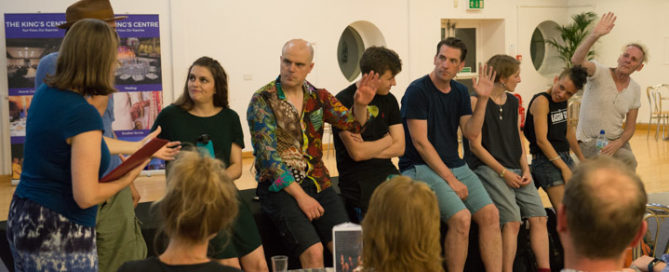 My post-show Q&A with the cast of Creation Theatre's game-style The Tempest in Oxford. © Peter Jones
