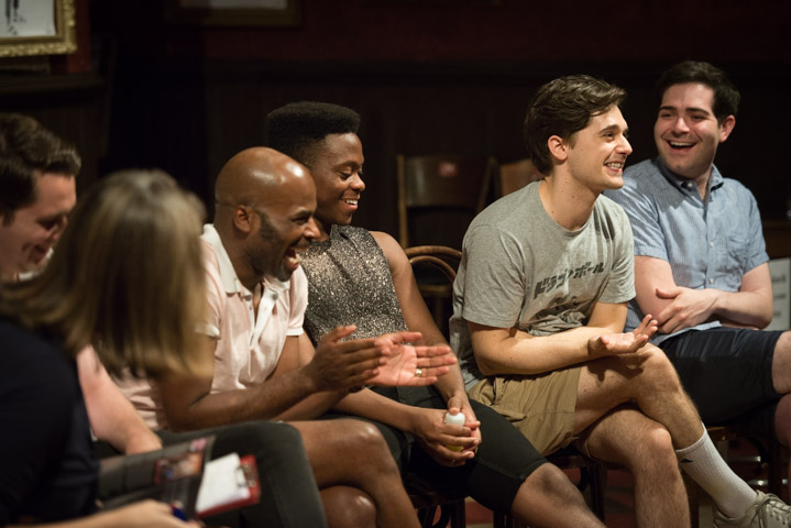 Cedric Neal, Tyrone Huntley, Andy Mientus & producer Brian Zeilinger at The View Upstairs post-show Q&A at Soho Theatre on 3 August 2019. © Peter Jones