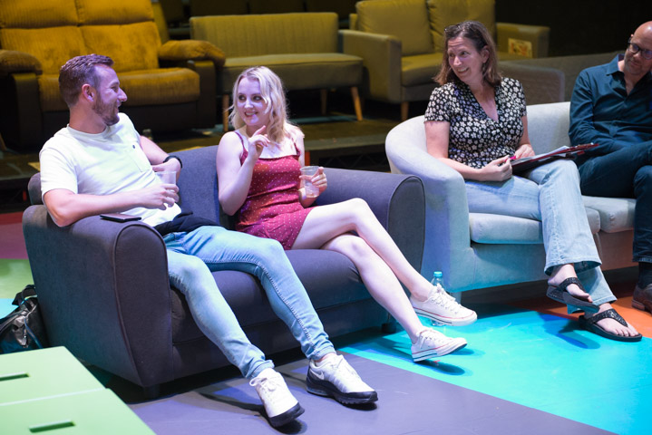 Games for Lovers' Calum Callaghan & Evanna Lynch at my post-show Q&A at The Vaults on 7 Aug 2019. © Peter Jones