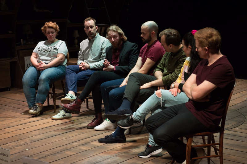 The company of Queen of the Mist at the post-show Q&A chaired by Terri Paddock at Charing Cross Theatre on 20 August 2019. © Peter Jones
