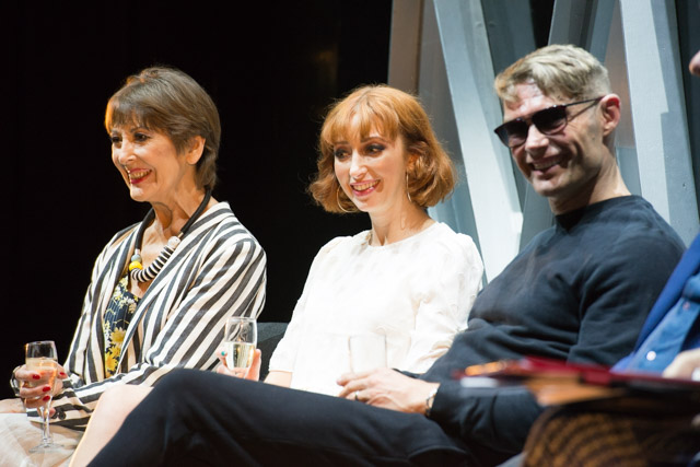 Anita Harris, Kara Lily Hayworth & John Partridge at the Cabaret post-show Q&A chaired by Terri Paddock on 29 August 2019 at The Churchill Theatre, Bromley, the first stop on a nationwide tour