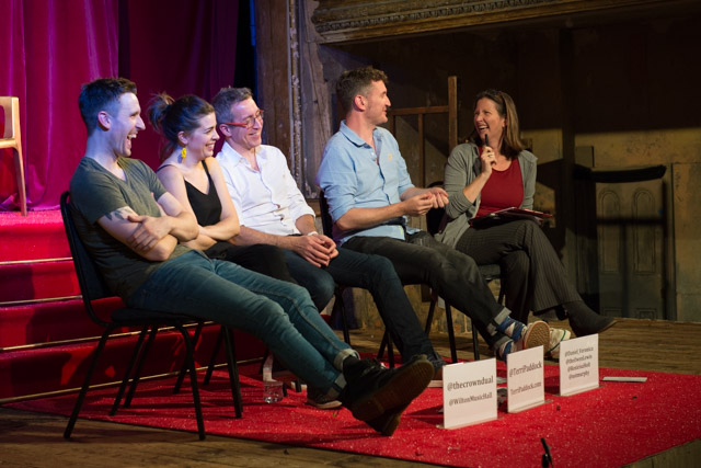 Brendan Murphy, Rosie Holt, Owen Lewis & Daniel Clarkson at The Crown Dual post-show Q&A at Wilton's Music Hall chaired by Terri Paddock at Wilton's Music Hall on 3 Sep 2019. © Peter Jones