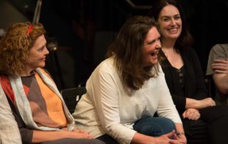 Writer Paloma Pedrero, translator Catherine Boyle & actor Lanna Joffrey at The Eyes of the Night post-show Q&A chaired by Terri Paddock at the Cervantes Theatre on 13 Sep 2019. © Peter Jones