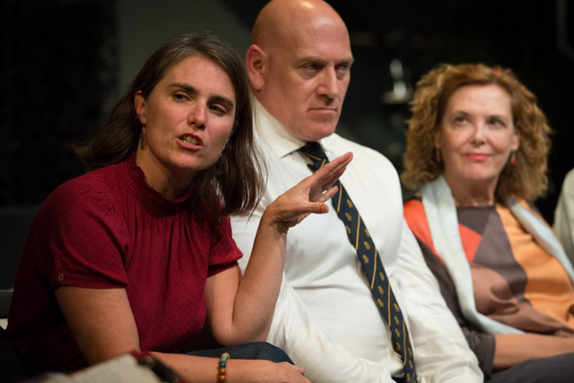 Director Simone Coxall, lighting designer Nigel Lewis & writer Paloma Pedrero at The Eyes of the Night post-show Q&A chaired by Terri Paddock at the Cervantes Theatre on 13 Sep 2019. © Peter Jones