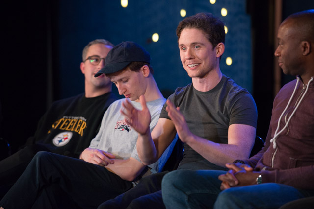 Tom Hopcroft, George Hannigan, Sean Carey & Damian Lynch at The Comedy About a Bank Robbery post-show Q&A chaired by Terri Paddock at the West End's Criterion Theatre on 19 September 2019