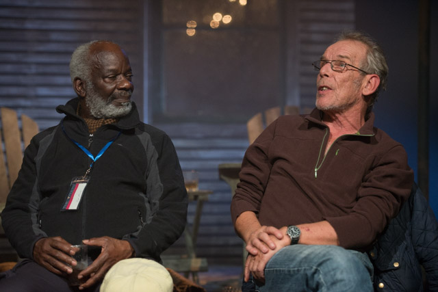 Joseph Marcell and Christopher Fairbank at my post-show talk for Sam Shepard's Ages of the Moon at The Vaults, London, on 18 October 2019. © Peter Jones