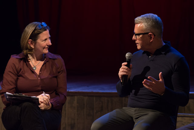My post-show talk with Richard Shelton at Sinatra: Raw at Wilton's Music Hall, London, on 22 October 2019. © Peter Jones
