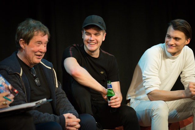 Writer-director Glenn Chandler with cast members Charlie Mackay & Simon Stache at The Good Scout post-show Q&A at London's Above the Stag Theatre on 29 October 2019. © Peter Jones