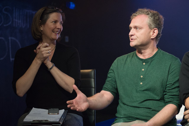 Terri Paddock with @TheTweetOfGod's David Javerbaum at An Act of God post-show Q&A at The Vaults, London