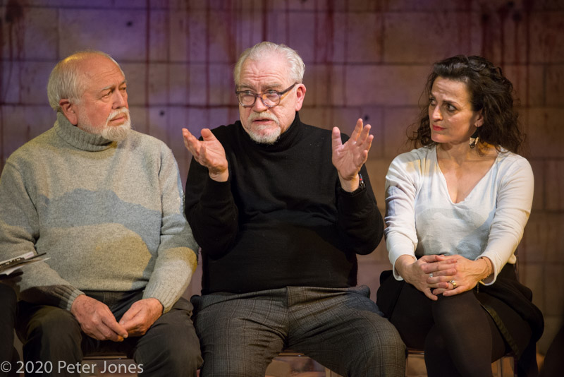 Writer Joshua Sobol, director Brian Cox and actor Nicole Ansari at Sinners' post-show talk at London's Playground Theatre. © Peter Jones