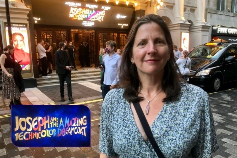 Terri Paddock at the London Palladium for the gala night of Joseph and the Amazing Technicolor Dreamcoat, 28 July 2021