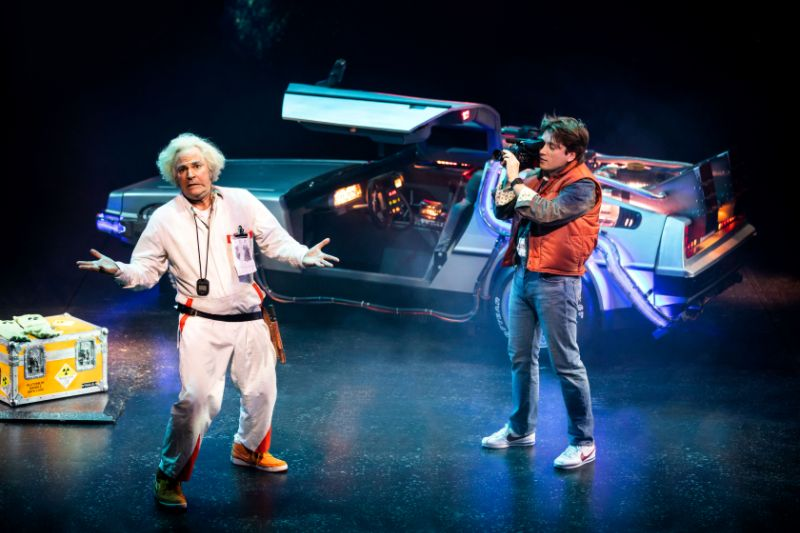 Roger Bart & Olly Dobson in Back to the Future. © Sean Ebsworth Barnes